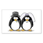 Bride and Groom Penguins Rectangle Sticker