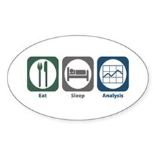 Eat Sleep Analysis Oval Sticker (10 pk)