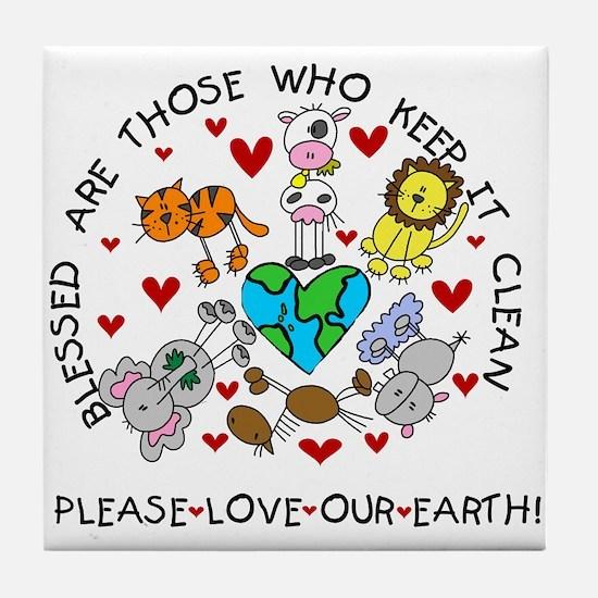 Earth Friendly Animals Tile Coaster