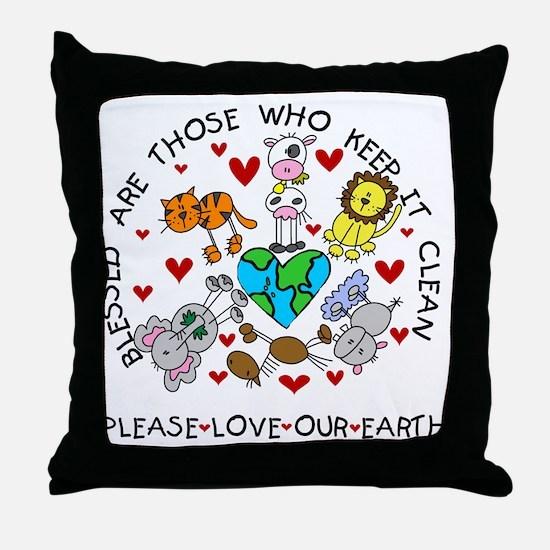 Earth Friendly Animals Throw Pillow
