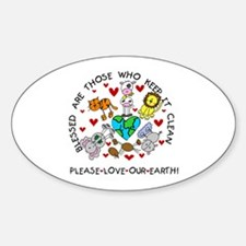 Earth Friendly Animals Oval Decal