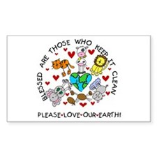 Earth Friendly Animals Rectangle Decal
