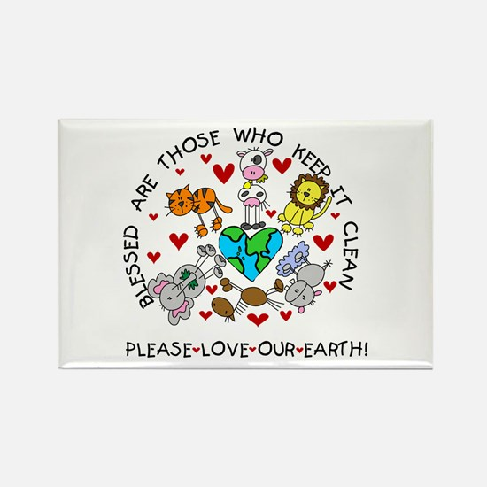 Earth Friendly Animals Rectangle Magnet