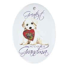 Bichon Grandma Oval Ornament