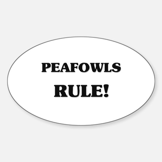 Peafowls Rule Oval Decal