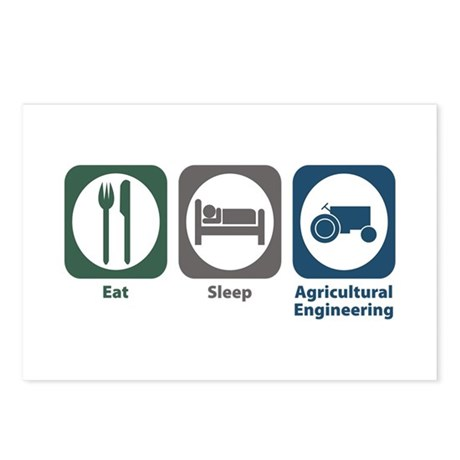 Eat Sleep Agricultural Engineering Postcards (Pack