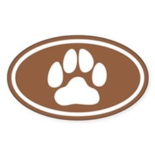 Brown Paw Print Oval Decal