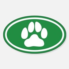 Green Paw Print Oval Decal