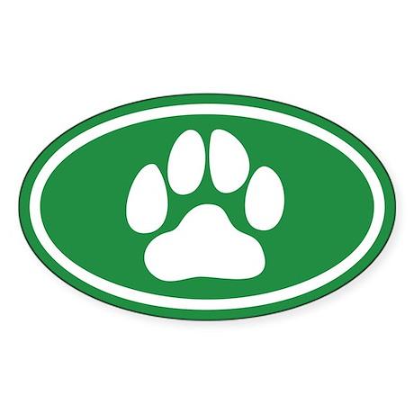 Green Paw Print Oval Sticker