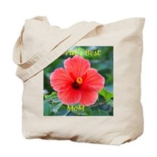 World's Best Mom Hibiscus Flowers Tote Bag