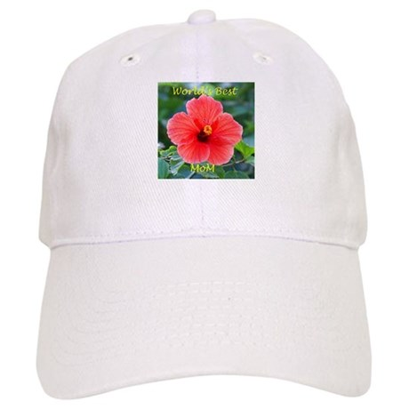World's Best Mom Hibiscus Flowers Cap