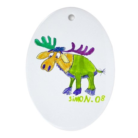 Simon's Friendly Moose Oval Ornament