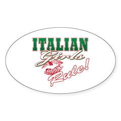 Italian Girls Rule Oval Decal