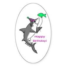 Birthday Shark Oval Decal