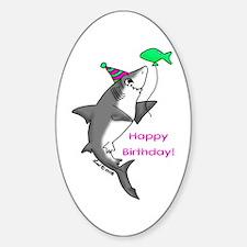 Birthday Shark Oval Decal
