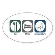 Eat Sleep Acupuncture Oval Decal