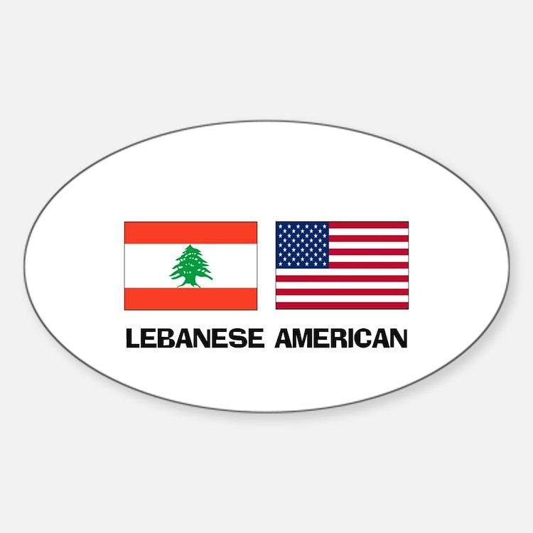 Lebanese American Oval Decal