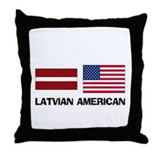 Latvian American Throw Pillow