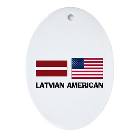 Latvian American Oval Ornament