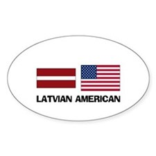Latvian American Oval Decal