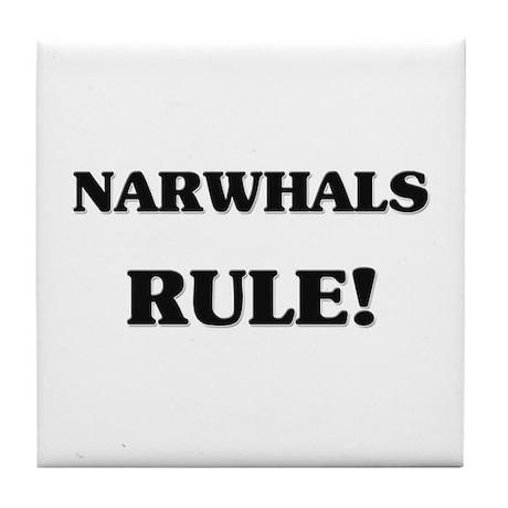 Narwhals Rule Tile Coaster