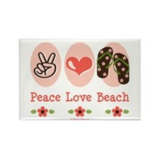 Peace Love Beach Flip Flop Rectangle Magnet 10 pk