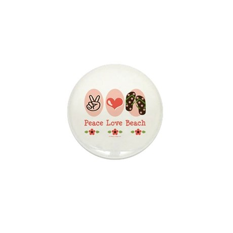 Peace Love Beach Flip Flop Mini Button (10 pack)