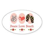 Peace Love Beach Flip Flop Oval Sticker (10 pk)