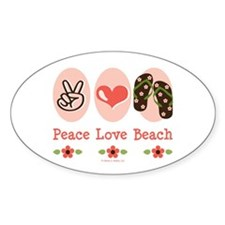 Peace Love Beach Flip Flop Oval Decal