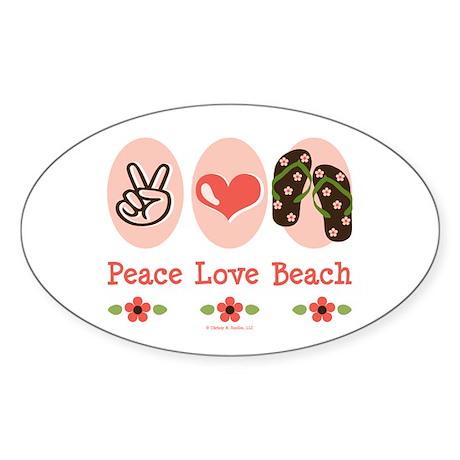Peace Love Beach Flip Flop Oval Sticker