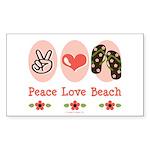 Peace Love Beach Flip Flop Sticker Rectangle 50 pk