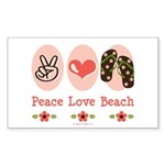 Peace Love Beach Flip Flop Rectangle Sticker