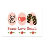 Peace Love Beach Flip Flop Postcards 8 Pack