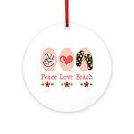 Peace Love Beach Flip Flop Ornament (Round)