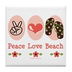 Peace Love Beach Flip Flop Tile Coaster