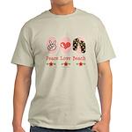 Peace Love Beach Flip Flop Light T-Shirt