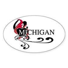 Heart Michigan Oval Decal