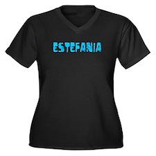 Estefania Faded (Blue) Women's Plus Size V-Neck Da