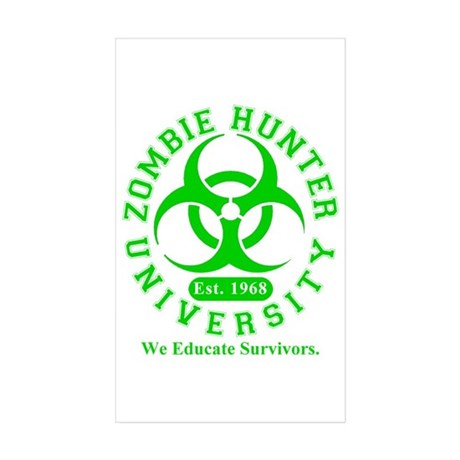A Zombie Hunter University Rectangle Sticker 50 p