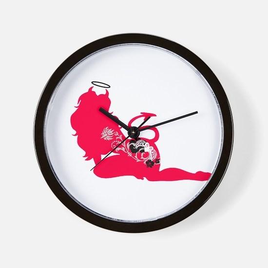 Red Silhouette Tattooed Devil Wall Clock