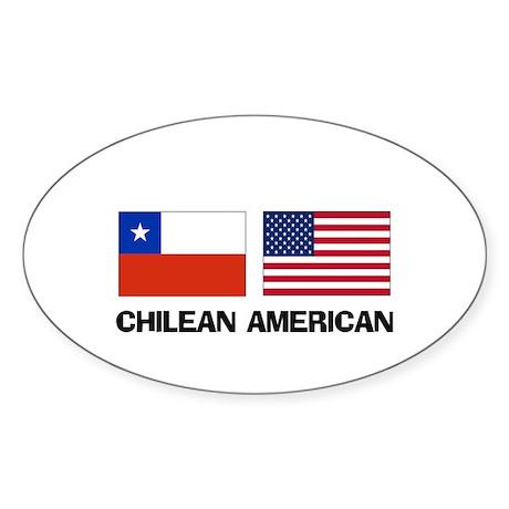 Chilean American Oval Sticker