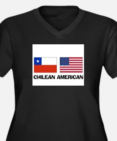 Chilean American Women's Plus Size V-Neck Dark T-S