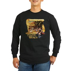 Pirate Wench Ship and Map Long Sleeve Dark T-Shirt