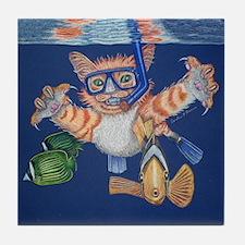 Snorkel, Snorkeling Cat Tile Coaster