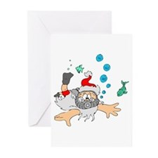 Scuba Diving Santa Greeting Cards (Pk of 10)