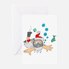 Scuba Diving Santa Greeting Cards (Pk of 10)