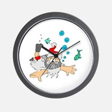 Scuba Diving Santa Wall Clock