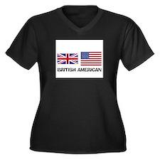 British American Women's Plus Size V-Neck Dark T-S