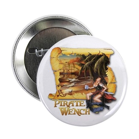 """Pirate Wench Ship and Map 2.25"""" Button"""