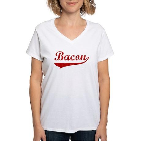 Bacon (red vintage) Women's V-Neck T-Shirt